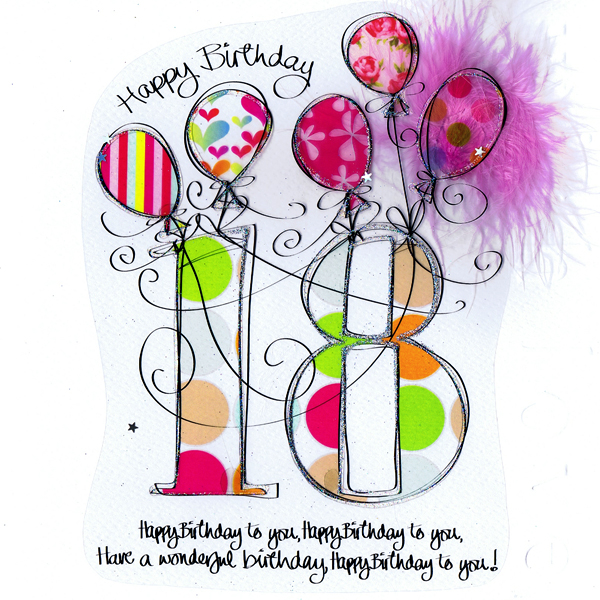 18th Birthday Greeting Cards With Bubble