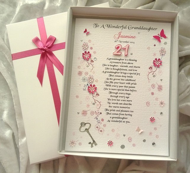 Wonderful Happy 21st Birthday Cards For Granddaughter