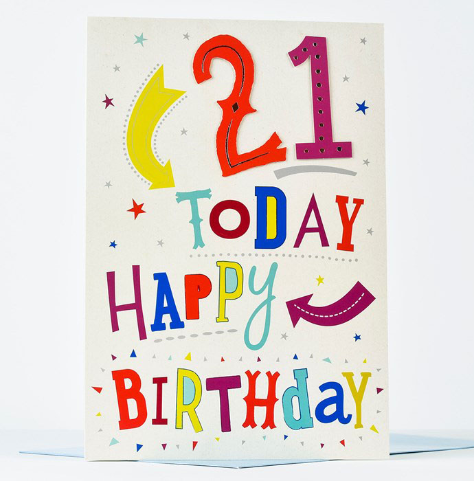 Full Color For Happy 21 St Birthday Greeting Card