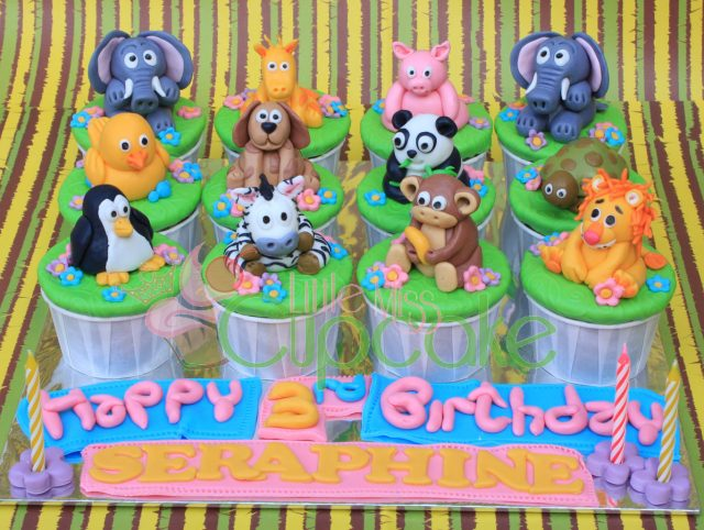 Animal birthday cupcake