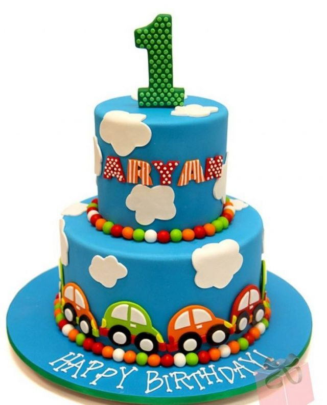 Baby boy happy birthday cake