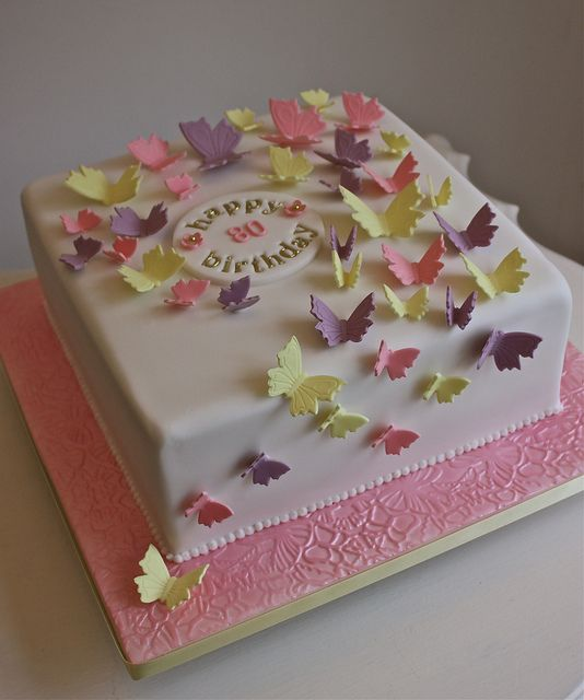 Birthday Cakes for Girls and Women with butterflies