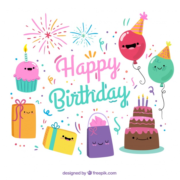 Birthday Emoji – colorful background