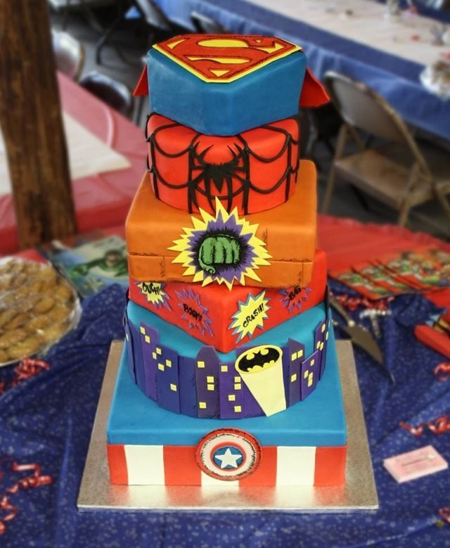 Superheroes birthday cake ideas