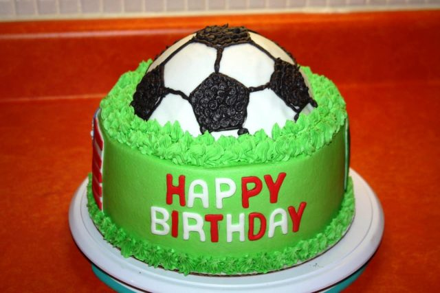 happy birthday cake for boys – football