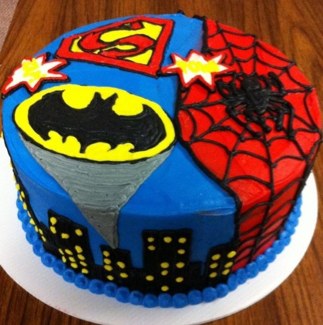 happy birthday cake for boys – superheroes