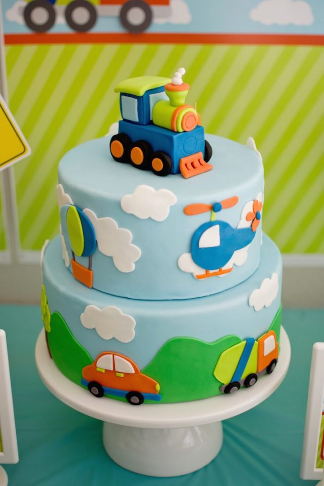 happy birthday cake for boys – transportations