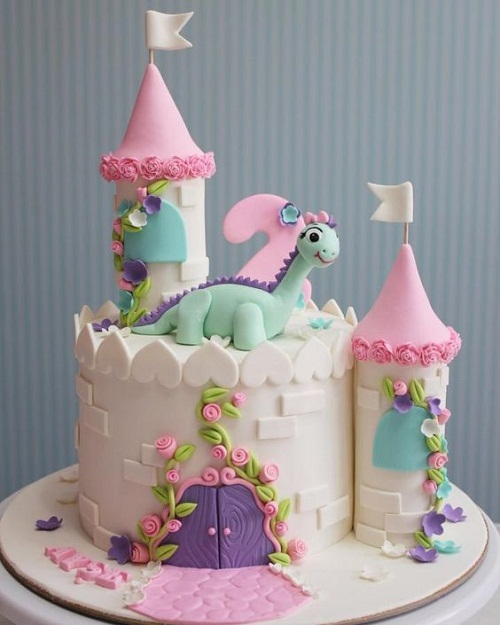 happy birthday cake for girls – Dinosaur with castle