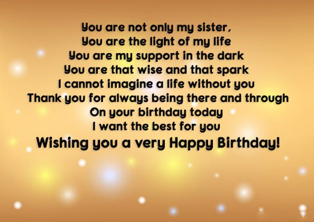 Long Birthday Wishes For Sister