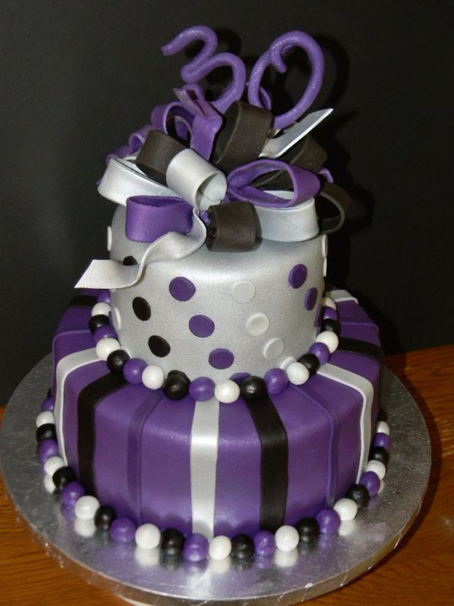 purple, silver and black Birthday Cakes for Girls and Women