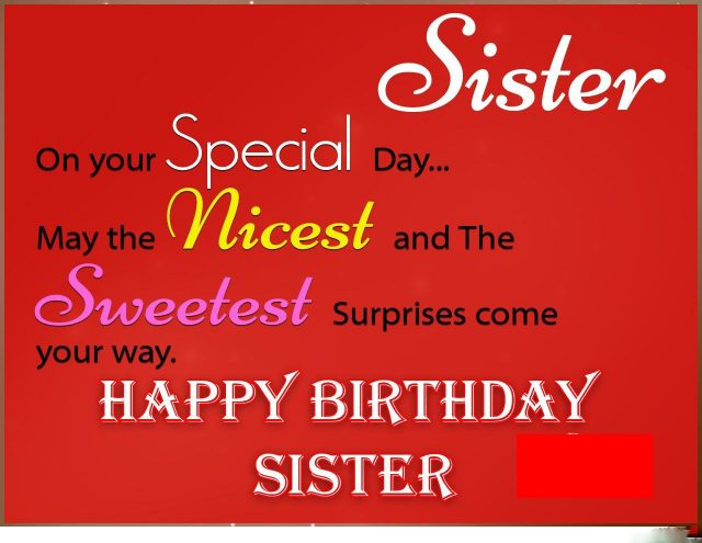 red Birthday Wishes for Sister