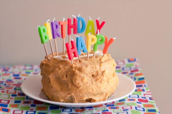Pumpkin-peanut-butter dog birthday cake